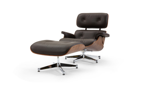 Pasargad Home Florence Leather Lounge Chair & Ottoman, Brown