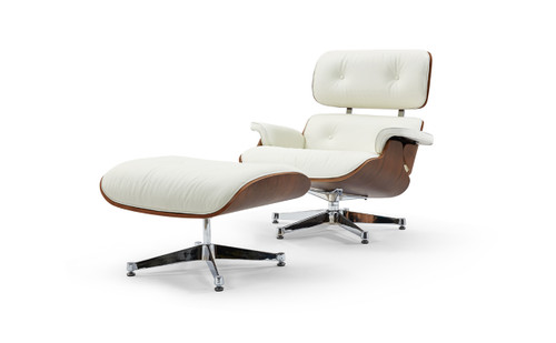 Pasargad Home Florence Leather Lounge Chair, White