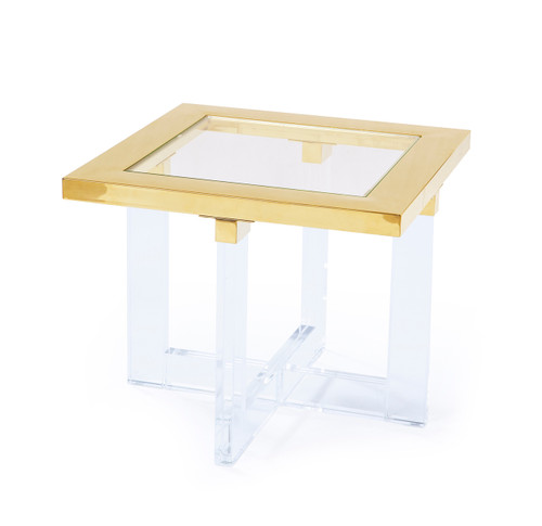 Pasargad Home Vicenza Collection Lucite White Side Table