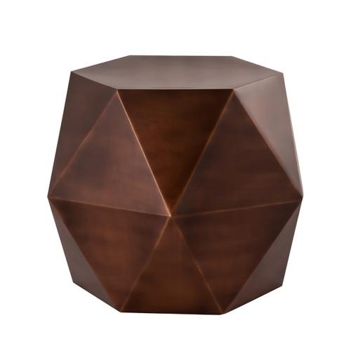 Pasargad Home Lexi Design Diamond Shape Iron Side Table, Copper
