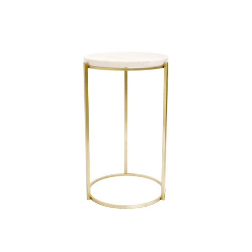 Pasargad Home Carina Marble & Stainless Steel Round Side Table