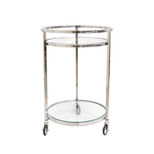 Pasargad Home Blake Stainless Steel & Glass Serving Table