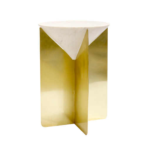 Pasargad Home Serena Marble & Stainless Steel Side Table