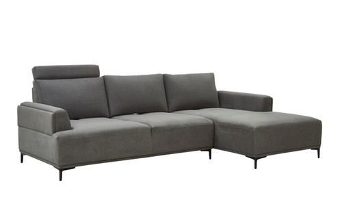 Pasargad Home Modern Lucca Sectional Sofa With Right Chaise & Push Back Function, Dark Grey