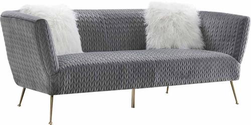 Pasargad Home Noho Collection Lafayette Grey Velvet Sofa