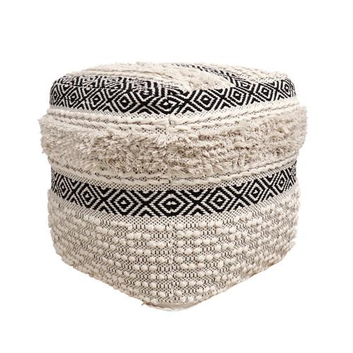 Pasargad Home Grandcanyon Cotton Pouf (Ivory/Black)