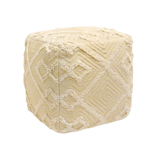 Pasargad Home Grandcanyon Yellow/Ivory Cotton Pouf
