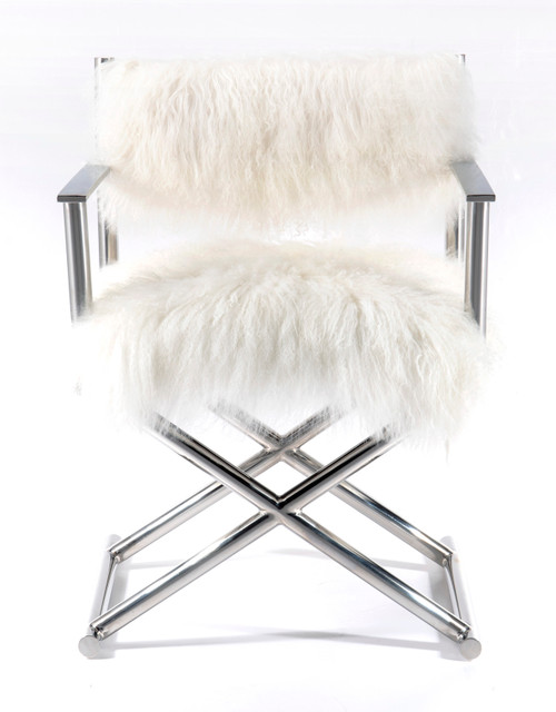 Mongolian Fur, Polished Metal Director's Chair