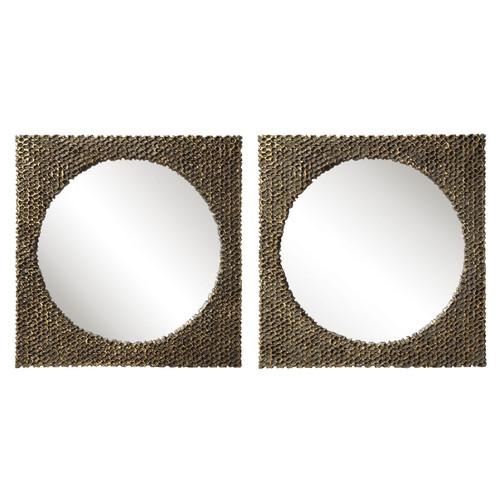 Uttermost The Hive Gold Square Mirrors, S/2