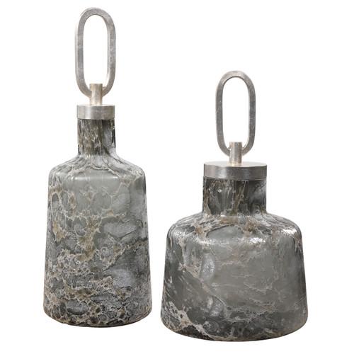 Uttermost Storm Art Glass Bottles, S/2