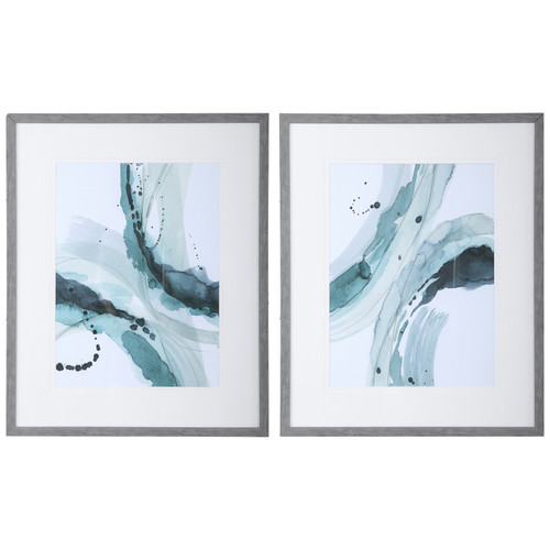 Uttermost Depth Abstract Watercolor Prints, S/2