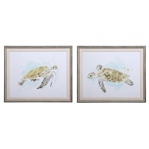 Uttermost Sea Turtle Study Watercolor Prints, S/2