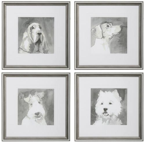Uttermost Modern Dogs Framed Prints, S/4