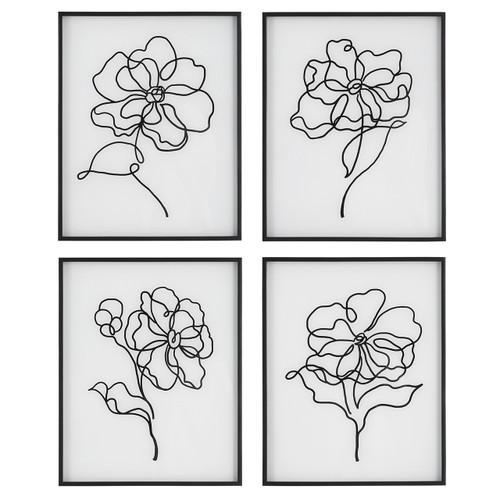 Uttermost Bloom Black White Framed Prints, S/4