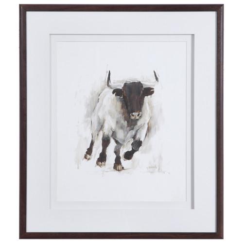 Uttermost Rustic Bull Framed Animal Print