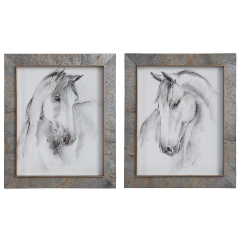Uttermost Equestrian Watercolor Framed Prints, S/2