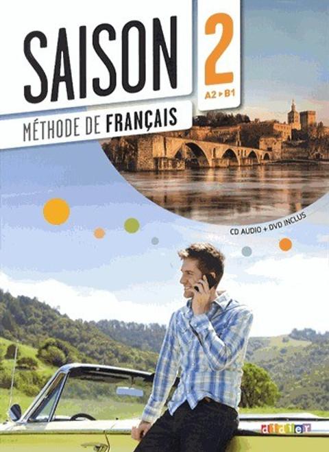 French textbook Saison niveau 2 Methode de Francais avec cd audio + DVD - A2/B1