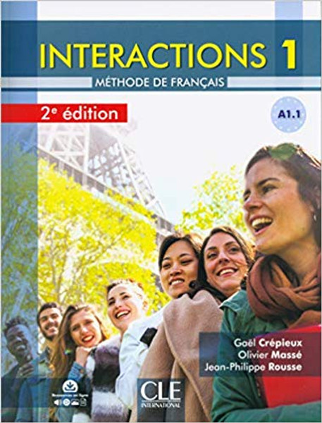 Interactions 1 - Methode de Francais A1.1 with DVD-Rom Multimedia (images - Video - Audio) - 2eme edition - 8.7 x 0.4 x 11.3 inches 144 pages Author: Gael Crepieux, Olivier Masse and Jean-Philippe Rousse Published by: Cle International ISBN-13: 9782090386974 Section: French Language learning textbook