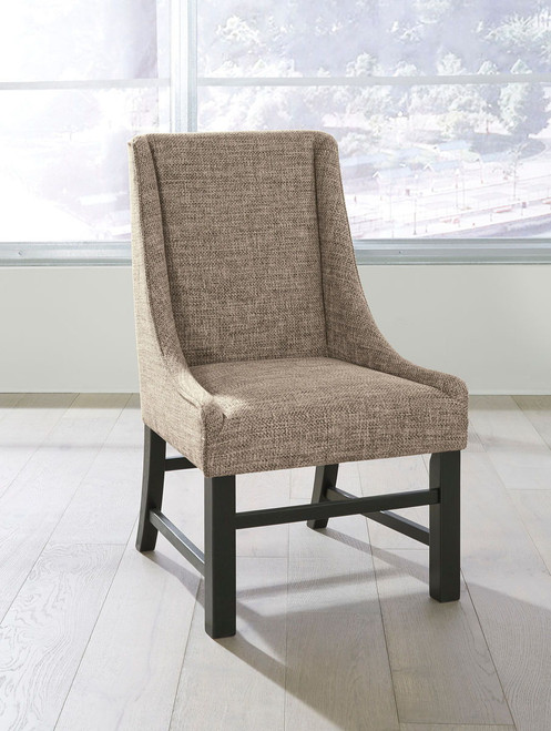 Sommerford Black/Brown Dining Upholstered Arm Chair (Set of 2)