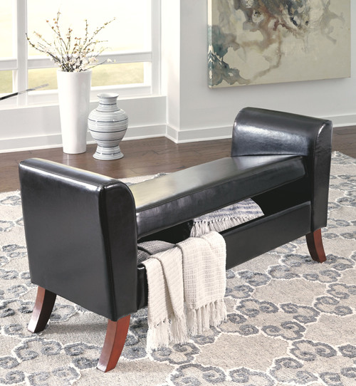 Benches Brown Upholstered Storage Bench