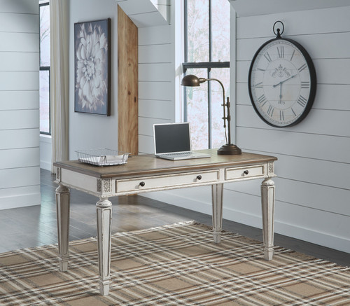 Realyn White/Brown Home Office Desk