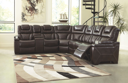 Warnerton Chocolate LAF Reclining Power Loveseat with Console, Wedge & RAF Reclining Power Sofa with Console Sectional