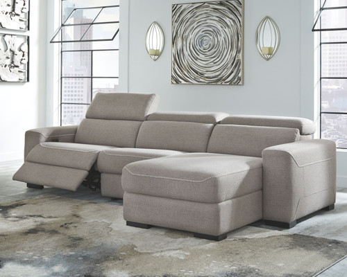 Mabton Gray LAF Zero Wall Power Recliner, Armless Chair & RAF Press Back Power Chaise Sectional