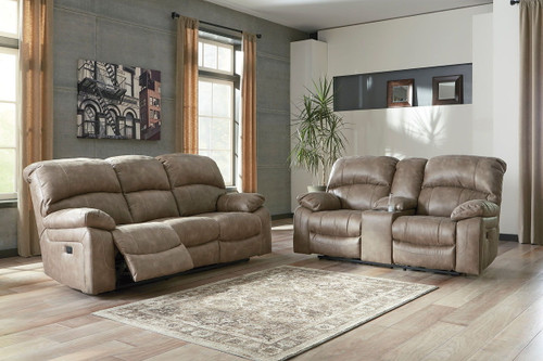 Dunwell Driftwood Power Reclining Sofa with ADJ HDRST & Power Reclining Loveseat with CON/ADJ HDRST