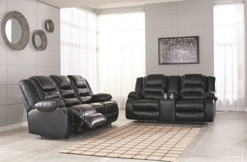 Vacherie Black Reclining Sofa & Double Reclining Loveseat with Console