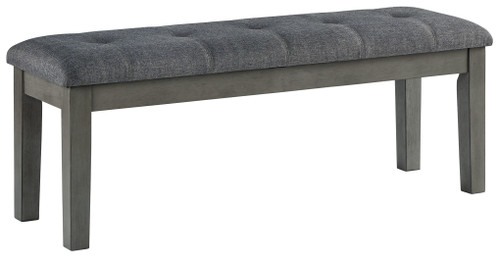 Hallanden Two-tone Gray Large Upholstered Dining Room Bench