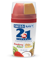 Swiss Navy introduces the New 2-In-1 Dispenser! Swiss Navy does it again with a new line of patented 2-in-1 dispensers offering their most popular premium lubricants. Each side contains 25ml with its own color-coded push button. Now it's even easier to get what you really want ... from Swiss Navy.