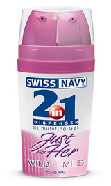 2-in-1 JUST FOR HER Stimulating Gels (featuring the Mild to Wild effect) Women can now control just how far they want to go. The 2-in-1 dispenser allows a woman to start with the MILD side and mix in as much WILD side as desired, to create her own personalized blend for the ultimate pleasure experience.