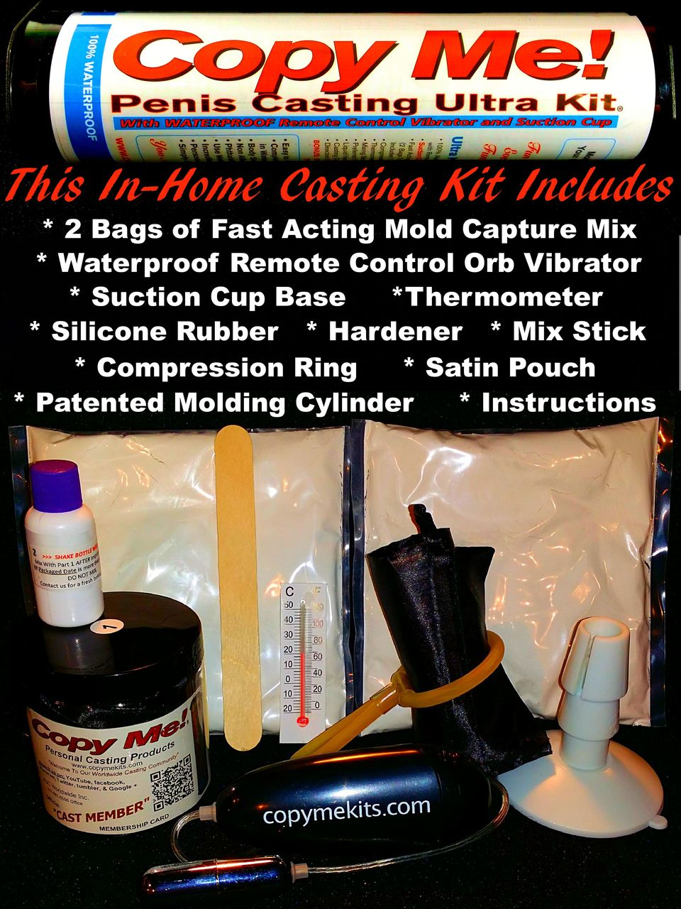 Here are the included parts inside the tube of THE BEST RATED PENIS CASTING KIT worldwide. Copy Me! Personal Casting Products deliver everything you are looking for when making a copy of your penis.