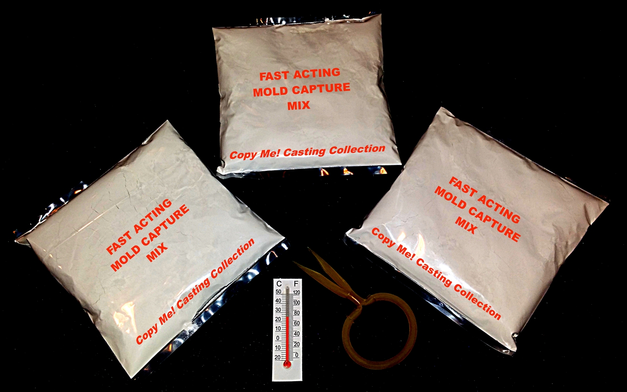 This order contains 3 bags of Fast Acting Mold Capture Mix, 1 Thermometer & 1 Compression Ring to maintain size.   (Only 1 bag is needed to make a penis imprint)  It is a refill part of the Copy Me! Penis Casting Ultra Kit. When mixed with water, it creates the imprint of your favorite penis in every detail and takes you to the next step of making a dildo replica of that penis you know and love!