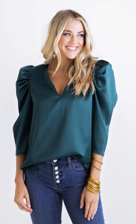 Emerald Puff Sleeve