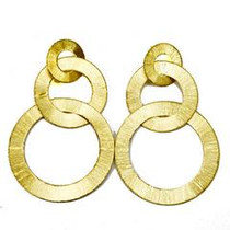 Tri Circle Flat Brushed Earring