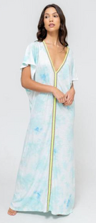 Tie Dye Inca Abaya, Light Blue