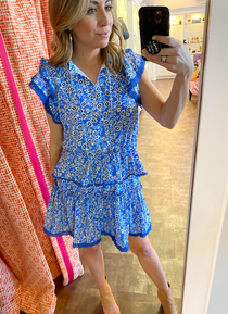 Blue Flower Mini Dress