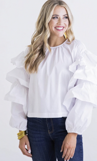 White Poplin Ruffle Top