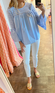 Powder Blue Eyelet Top