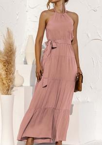Halter Solid Dress, Desert Sand