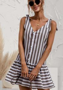 Stripe Mini Dress, Coffee