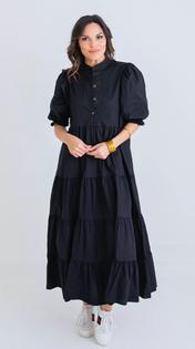 Black Poplin Puff Slv Dress