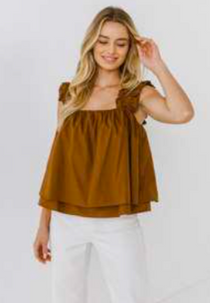 BrownTiered Top