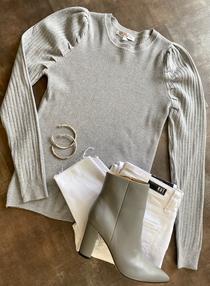 Grey Puff Slv Sweater
