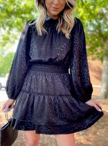 Black Leo Tiered Dress