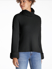 Wide Sleeve Turtleneck, Black