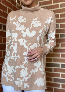 Floral Tneck Tunic Sweater