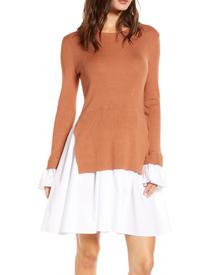 Poplin Combo Dress, Brown