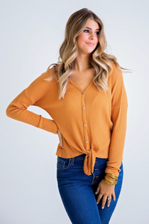 Waffle Button Knot Top